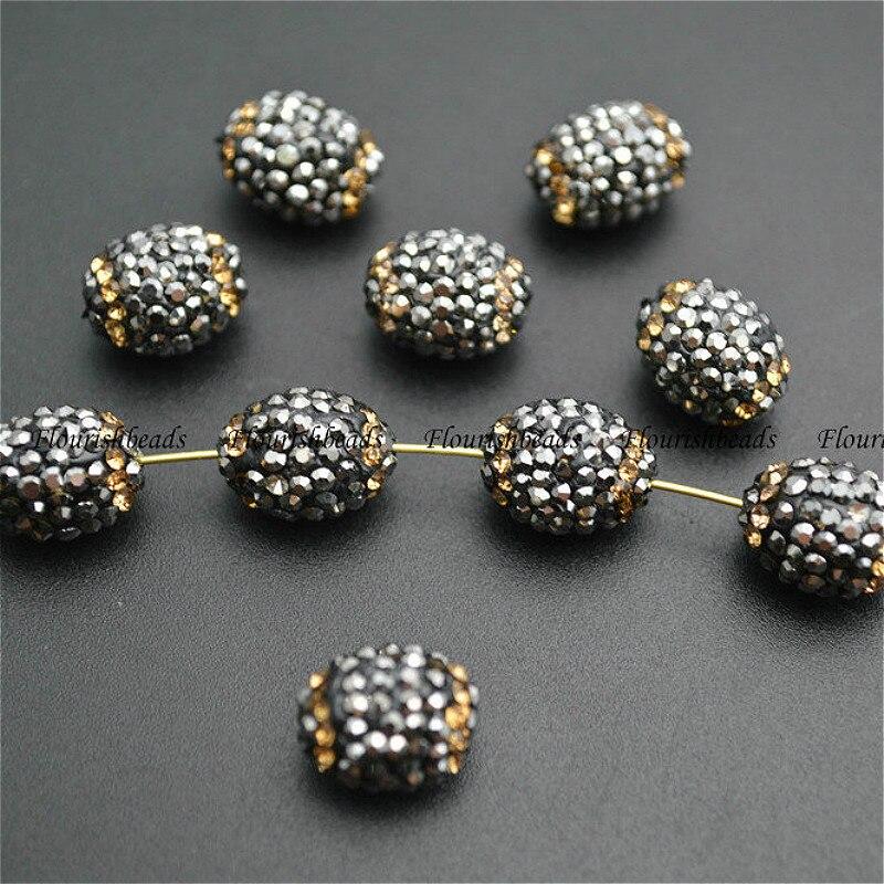 معبد الأسود زجاج كريستال 10x12 ملليمتر البيضاوي شكل مجوهرات الخرز فضفاض 50 قطعة في الكثير