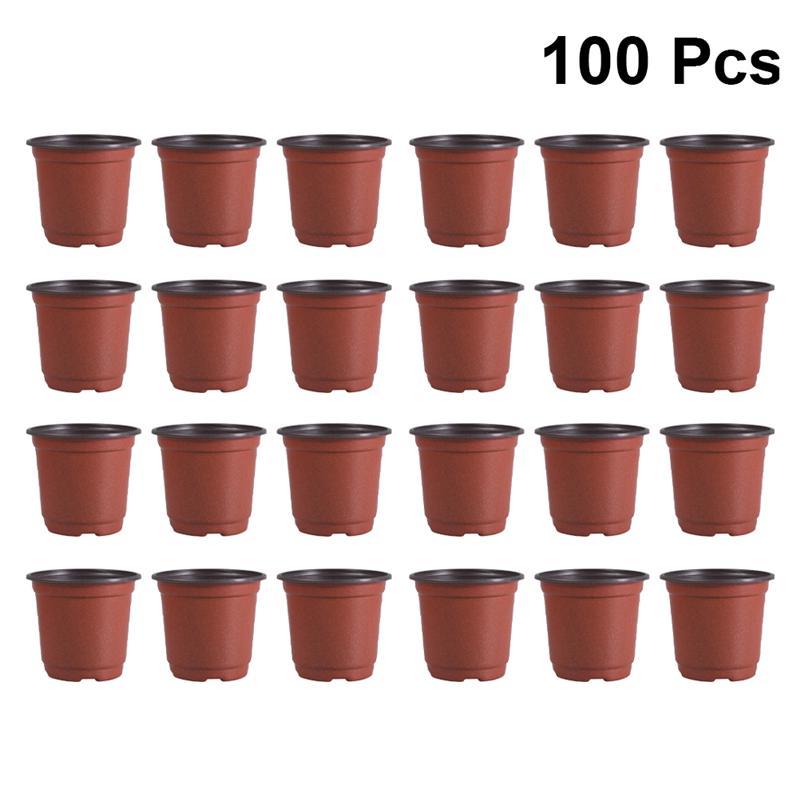 100 pces mini vaso de flor de plástico vaso de flor respirável vaso de flores suculentas vaso de flores flowerpot-diâmetro 90mm (marrom)