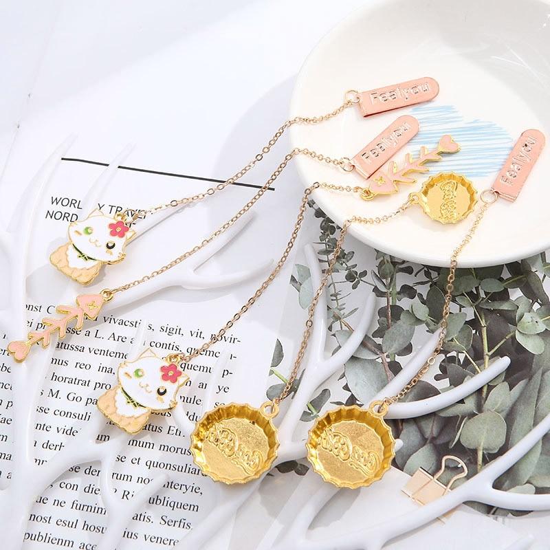 Cute Cat Fish Bones Bookmarks Creative Metallic Pendant Book Mark For Book Kids Gift School Office Supplies Korean Stationery