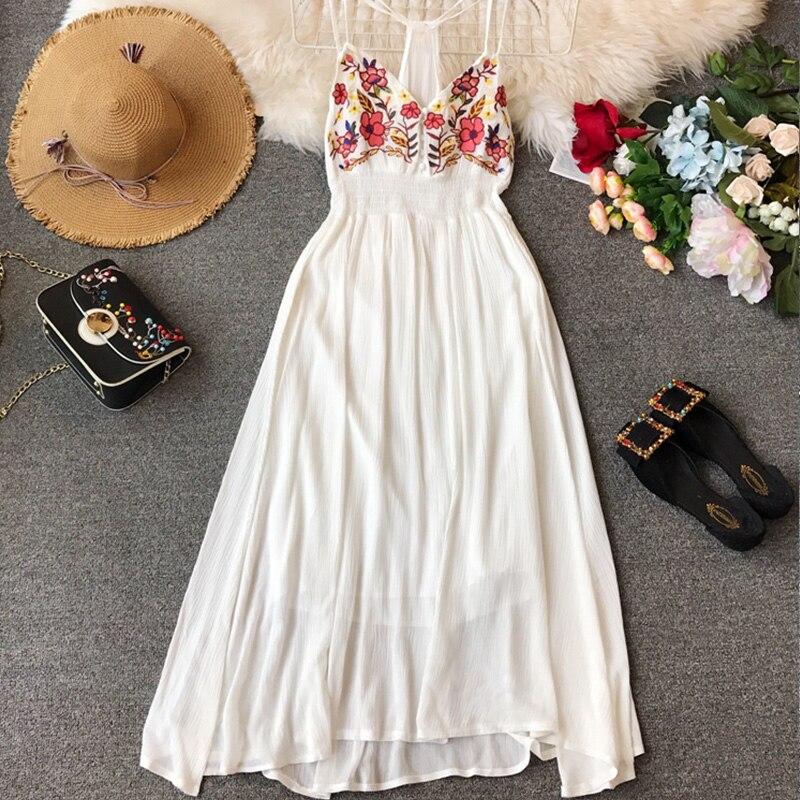 Vintage Boho Embroidery Flower Women Dresses High Waist Hanging Neck Dress Sexy Strap 2020 Spring Solid Slim Vestidos