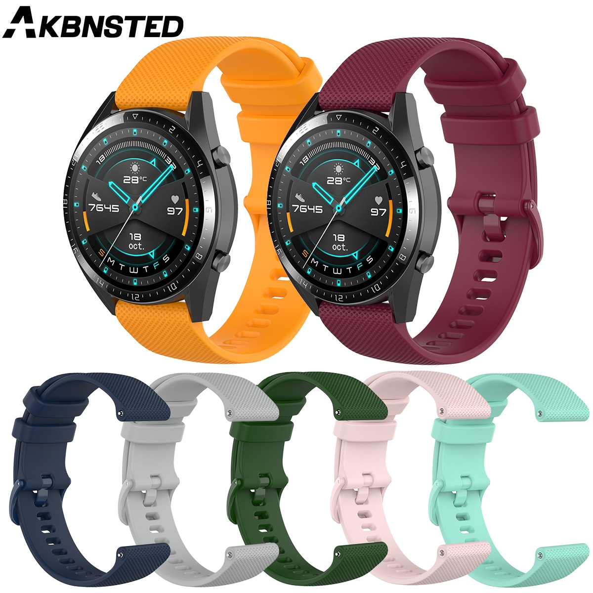 AKBNSTED 20 22MM correa de silicona colorida para reloj inteligente Huawei Watch GT 2/Huami Amazfit GTR/GTS/Stratos3, correa de repuesto para reloj inteligente