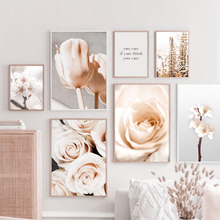 Flores rosa tulipán Flor de melocotón citas cuadro sobre lienzo para pared carteles nórdicos e impresiones cuadros de pared para decoración para sala de estar