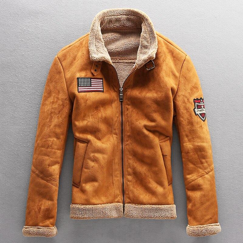 Chaquetas cálidas de lana para hombre de abrigos con Cuello de skin...