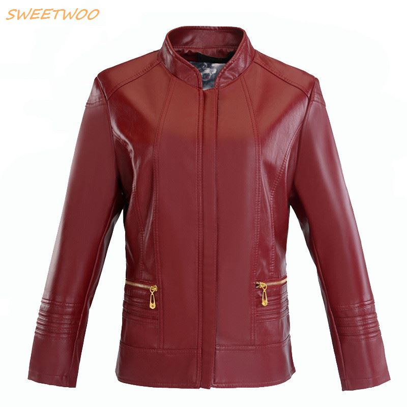 New Spring Large Size 3XL 4XL Womens Leather Jacket Autumn Motorcycle PU Women Coat Female Jackets Outerwear