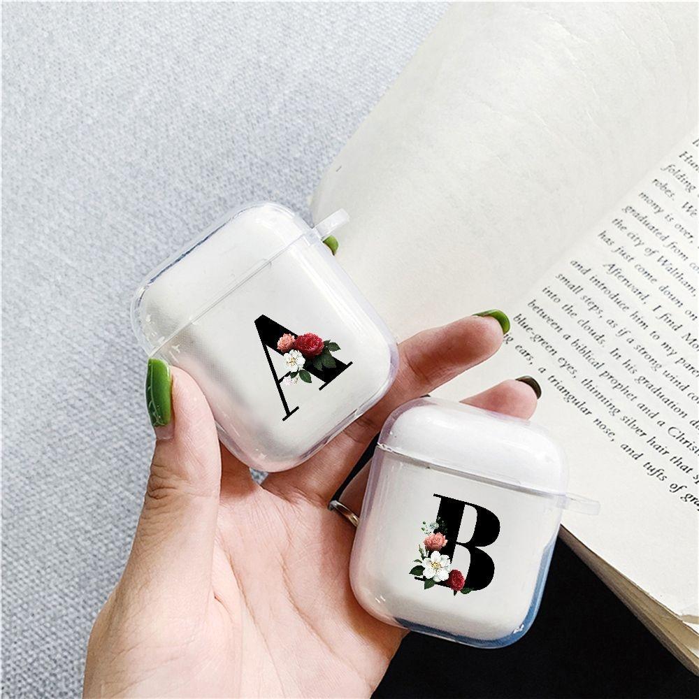 Прозрачные цветочные аксессуары для наушников, чехол для Apple airpods, чехол 2, милый с буквой R, оригинальный для Airpod, силиконовый чехол s A B R N