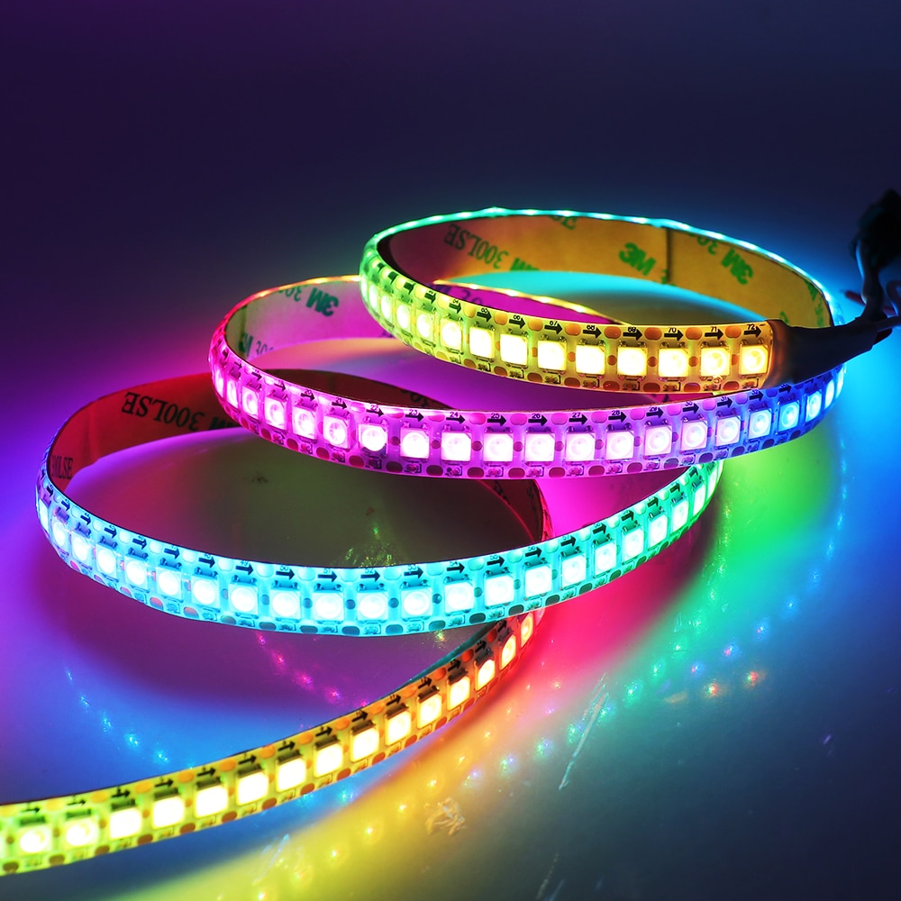 5v usb 18 key infrared controller 10m sk6812 ws2812b rgb full color individually addressable led string fairy light fairy light 1m 2m 5V RGB LED Strip 5050 144led/m WS2812B Smart Pixel Strip Addressable RGB Light Led Tape WS2812 IC Full Color Auto Running