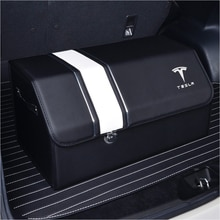 Tesla voiture coffre organisateur boîte sac de rangement Auto boîte à outils en cuir PU pliant grand rangement rangement rangement pour Tesla Medol 3 S Y X