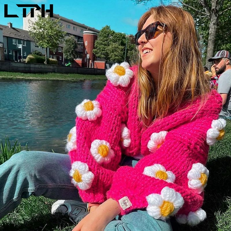 LTPH ins cardigan sweaters women strawberry outwear oversized loose casual thick crochet knitted sweater 2021 autumn winter new enlarge