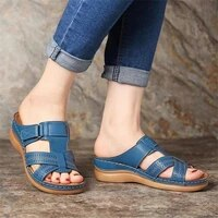 2020 summer women wedge sandals premium orthopedic open toe sandals vintage anti slip leather casual female platform retro shoes