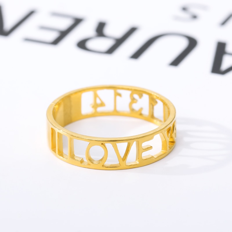 Personalized Name Rings Stainless Steel Gold Silver Custom Ring Jewelry Nameplate Rings For Women Girls Wedding Band Handmade custom name high quality stainless steel wholesale simple ring fashion gold rings jewelry for women s exclusive wedding ring