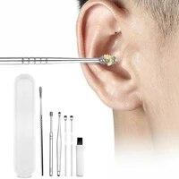 6pcs ear wax pickers stainless steel earpick wax remover curette ear pick cleaner ear cleaner spoon care ear clean tool