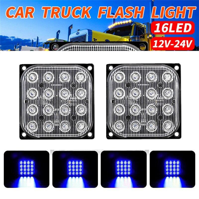 2 pces 16led fso pisca luzes estroboscópicas luzes de emergência 12v-24v aviso estroboscópios quadrados do caminhão do flash de fso para o carro