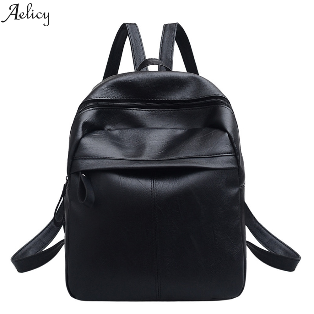 Women Students Leather School Bag Shoulder Bag Travel Backpack Black Ladies Casual Outdoor Zipper La