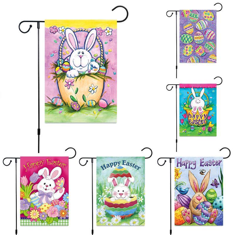 Duplo lado impresso bandeira do jardim coelho ovos de páscoa padrão banner festival festa ao ar livre quintal decoração para casa suprimentos