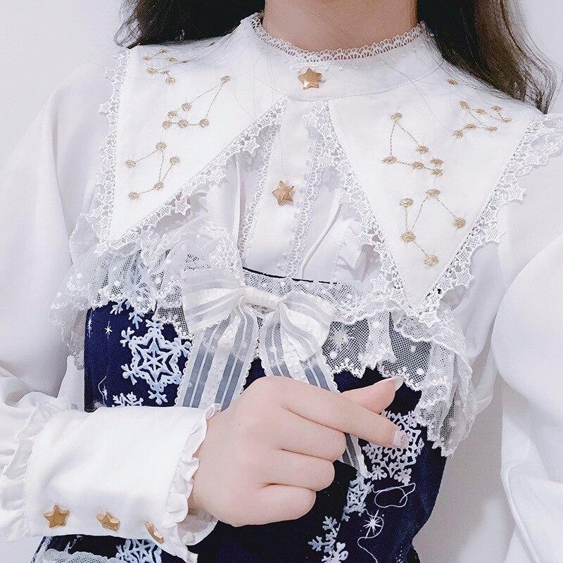 Женская винтажная блузка в викторианском стиле, топы в Стиле Лолита, рубашка с длинными рукавами, золотая вышивка, воротник-стойка, притален...