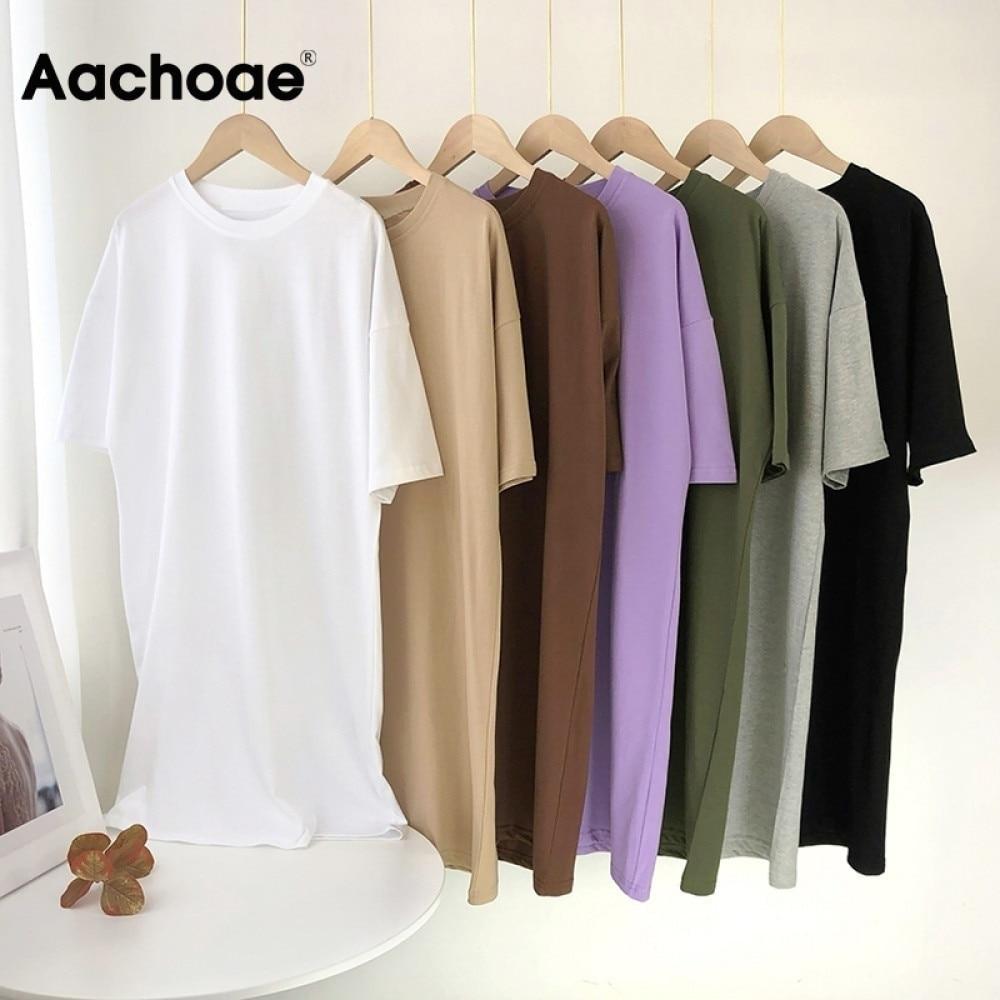aliexpress.com - Aachoae Women Casual Loose Solid 100% Cotton T Shirt Dress O Neck Mini Dress Batwing Short Sleeve Basic Dresses Vestidos