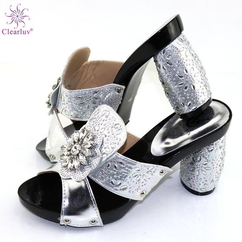 Nuevas zapatillas africanas de Color plateado, zapatos de tacón alto sexis de verano, elegantes zapatos de tacón bajo africanos para mujer, zapatos de boda africanos para mujer