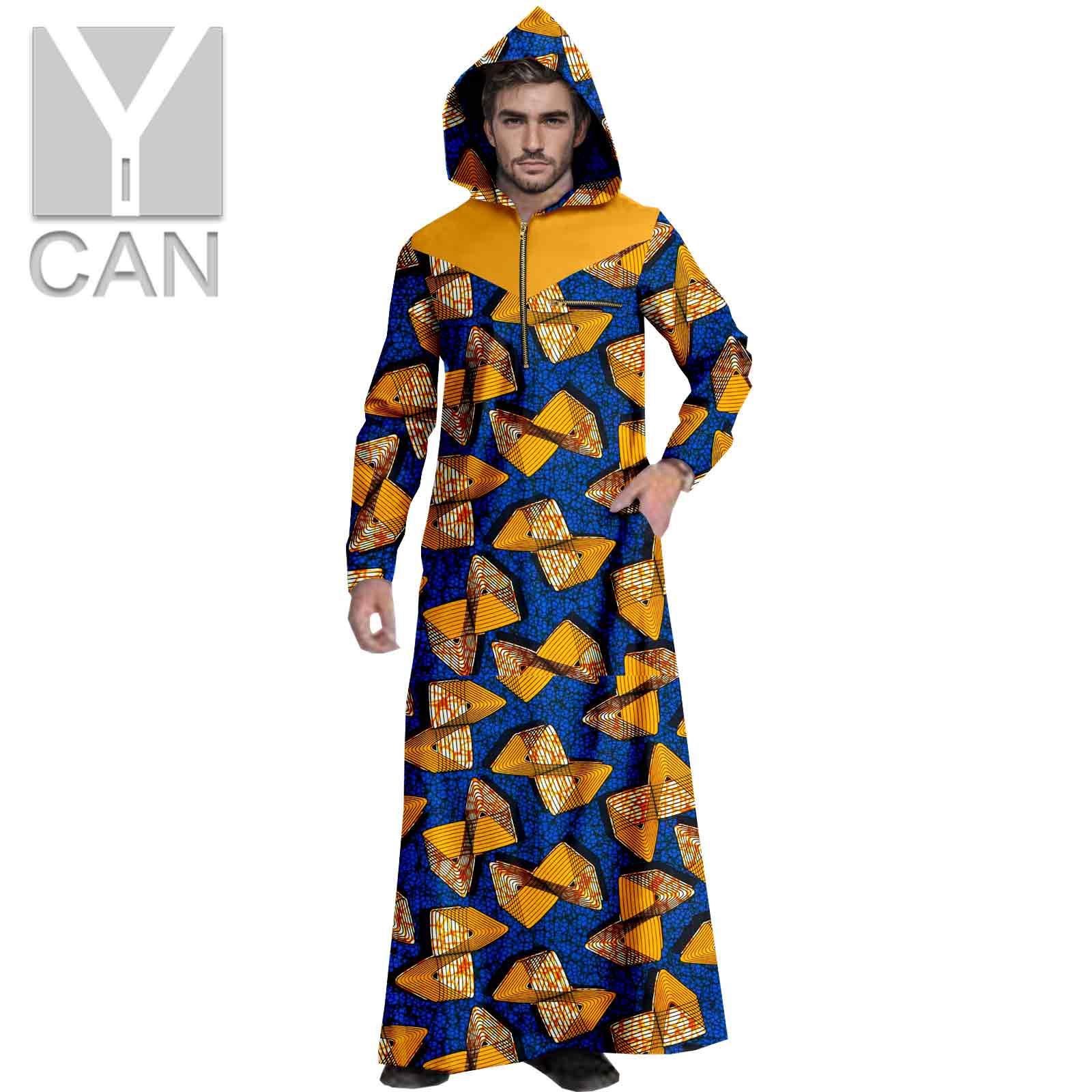 Y-CAN Men Ankara Print Dashiki Hemming  Hooded Long Sleeve Agbada Texture Fashion Comfortble  Loose Long Coats Robes Y211002