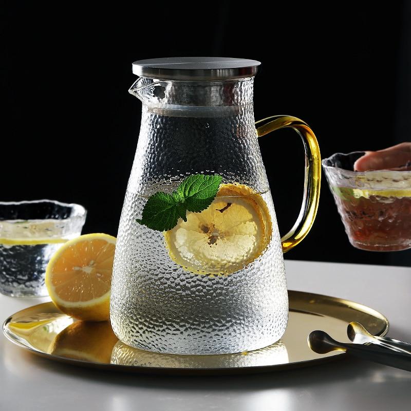 إبريق ماء زجاجي, إبريق ماء زجاجي من الفولاذ المقاوم للصدأ بغطاء تدفق مع مقبض إبريق الماء الساخن/البارد إبريق جيد للعصير الشاي المثلج