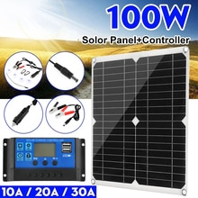 100W 12V/5V USB 30A Controller กันน้ำโซล่าเซลล์ Poly Solar Cells สำหรับเรือยอชท์ RV แบตเตอรี่ Charger
