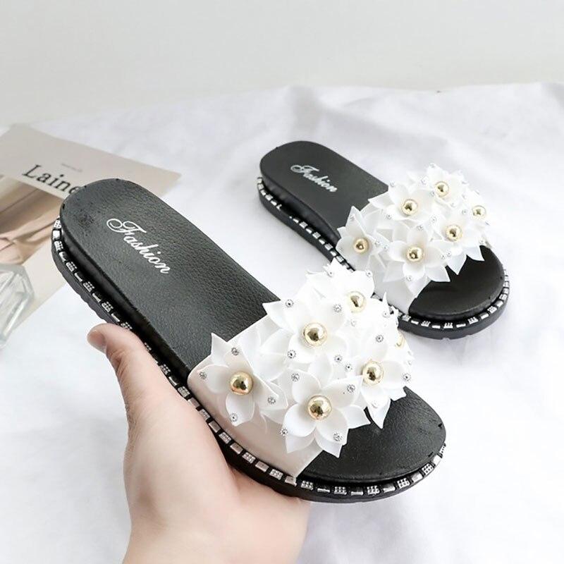 Casual playa Mujer zapatillas Sandalias 2020 cordón cuentas flores zapatos planos mujer verano dulce zapatillas básicas de mujer