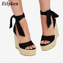 EilyKen Women Summer Butterfly Knot Solid Black Open Toe Sandals Fashion Platform High Heel Wedge Shoes Ankle Bowtie Dress Shoes