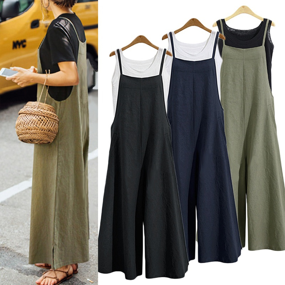 Women Casual Loose Jumpsuit Summer Solid Strap Wide Leg Pants Dungaree Bib Overalls Sleeveless Overs