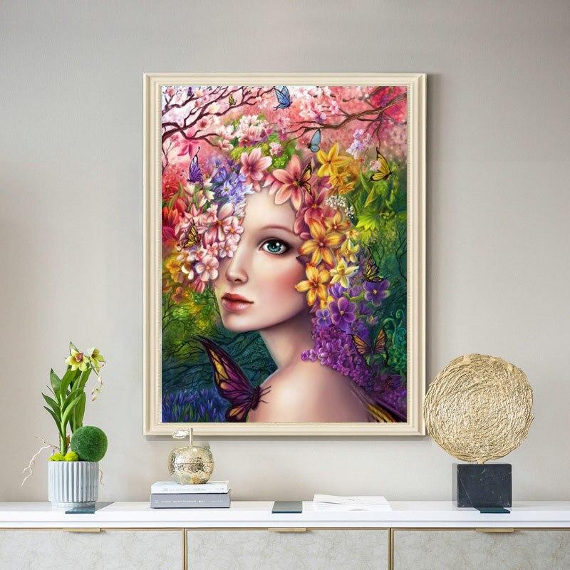 40*50 см Цветочная фея Алмазная картина красочный цветок частичная дрель Алмазная вышивка крестиком для новичка без рамки