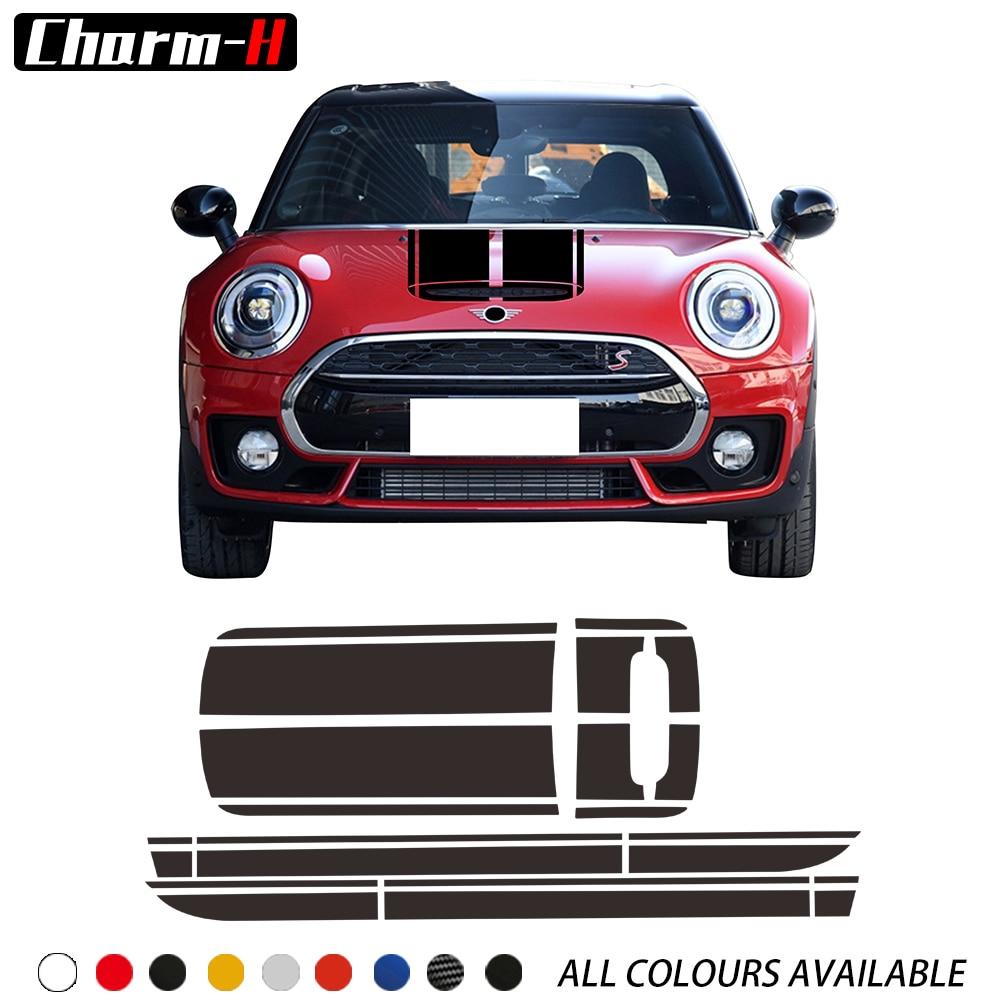 Car Bonnet Hood Stripe Vinyl Decals Side Skirt Trunk Rear Sticker Kit for Mini Cooper Clubman One S F54 2015-2019 Accessories