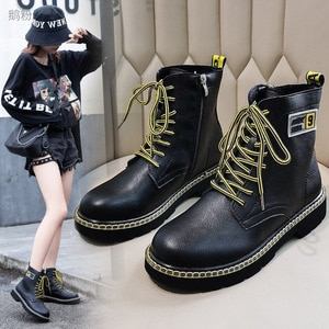 Ankle Boots for Women 2020 Autumn Motorcycle Boots Thick Heel PlatfoAnkle Brm Shoes Woman Slip on Round Toe Fashion Boots