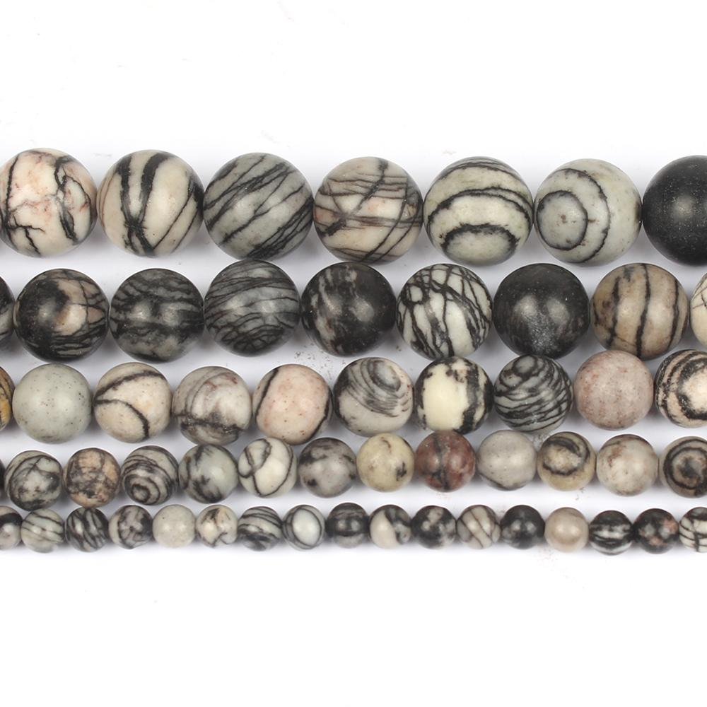 4/6/8/10/12mm Smooth Natural Black Web Jaspers Stone Beads Round for Accessories Jewellery Making Br