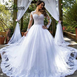 Romantic Lace Long Sleeves Wedding Dress 2020 Ball Gown Bridal Gown O Neck Chapel Train White Plus Size Bride Dresses Illusion