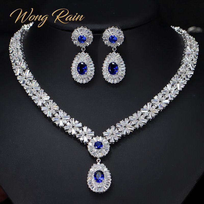 Wong Rain-قلادة فاخرة من الفضة الإسترليني عيار 925 مع الياقوت والزمرد وأحجار الميلاد والأقراط ومجوهرات الزفاف