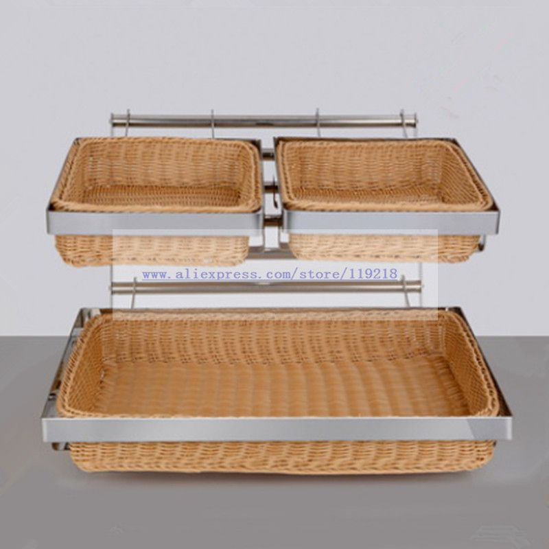 Buffet de doble-capa de mimbre cesta de pan pastel de frutas comida pantalla postre soporte decoración de la Mesa