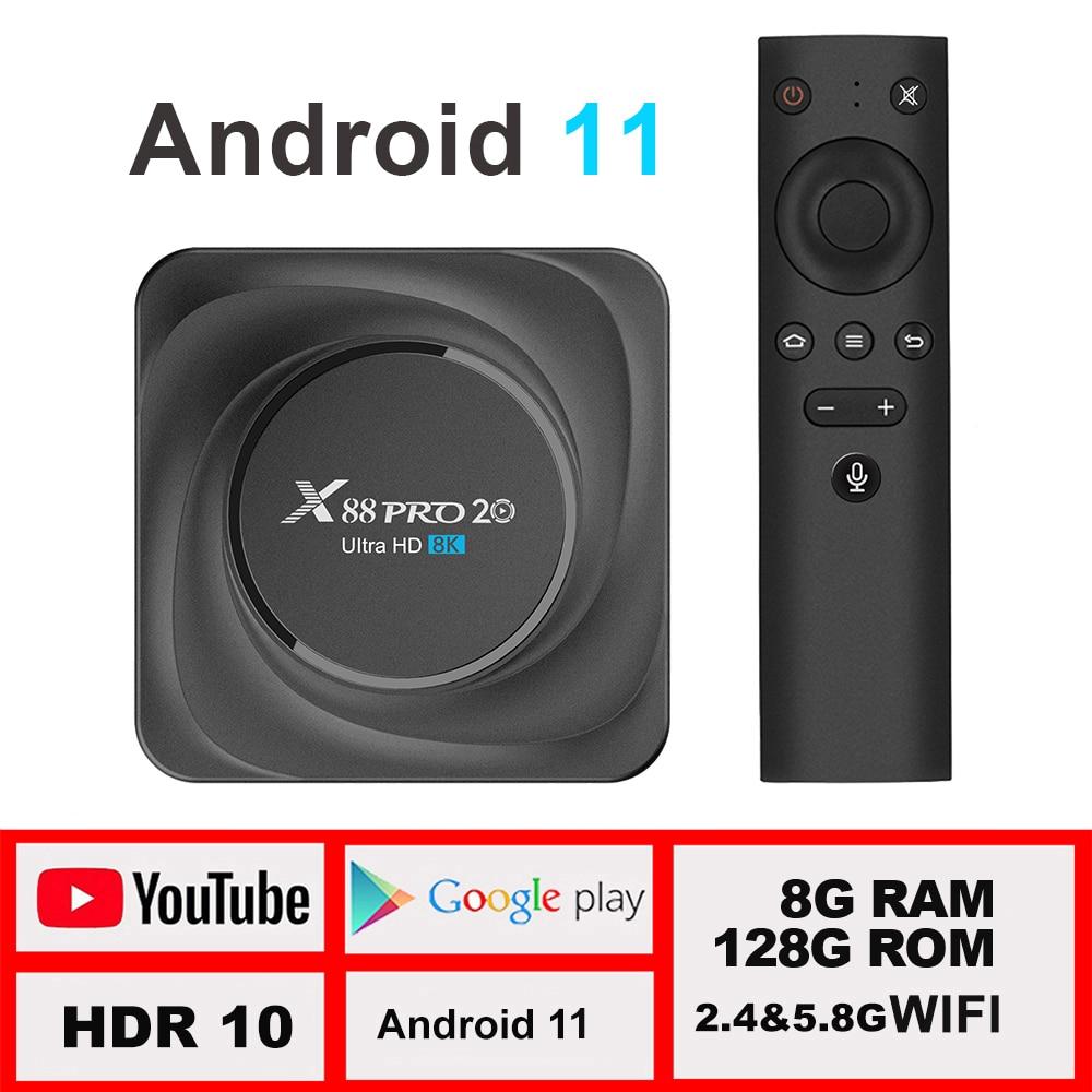 X88 pro 20 TV box أندرويد 11 8G 128GB 8K 2021 صندوق تلفاز ذكي جديد LEMFO 2.4G 5.8G WIFI BT 4.2 جوجل صندوق صوتي 11.0