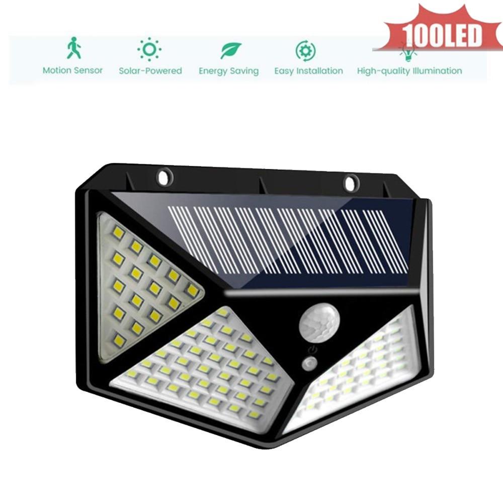 100 LEDs Solar Panel PIR Motion Sensor Waterproof Lamp 3 Modes for Garden Yard Outdoor & Indoor Emergency Night light 4 sided 27