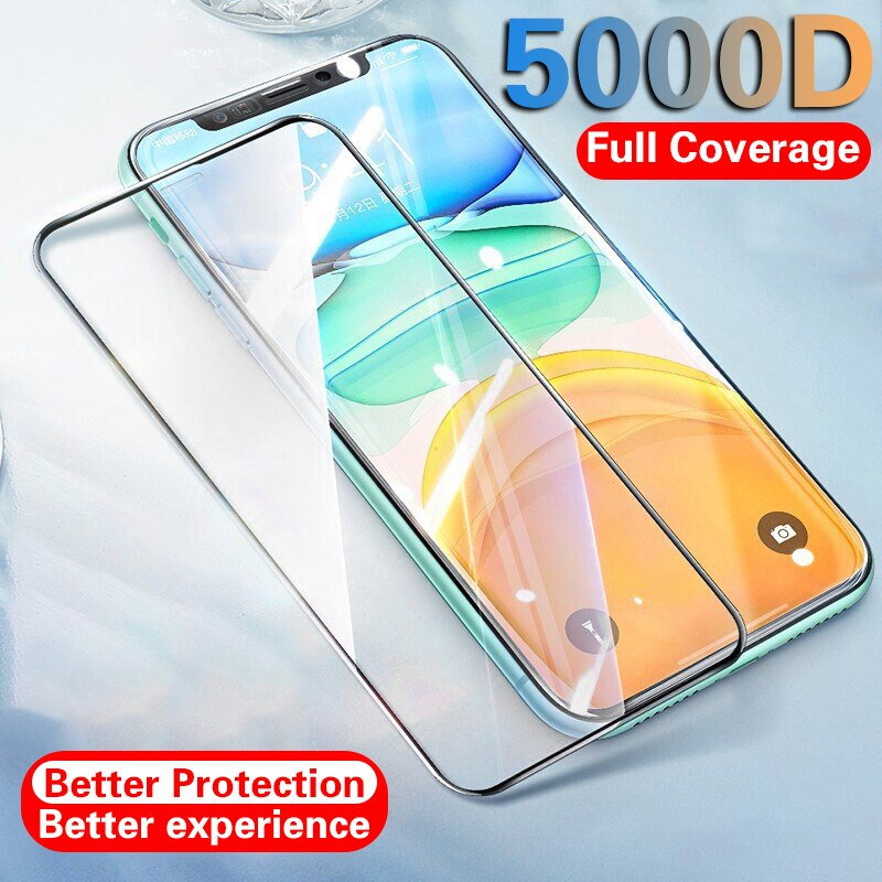 5000d capa completa vidro temperado para iphone 11 12 pro max protetor de tela de vidro protetor de proteção para iphone 11 12 x xr xs max vidro