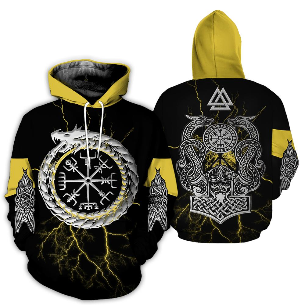 2019 Hot sale New Fashion Viking Tattoo Hoodie 3D Printed Yellow Sweatshirt Unisex Harajuku streetwear sudadera hombre