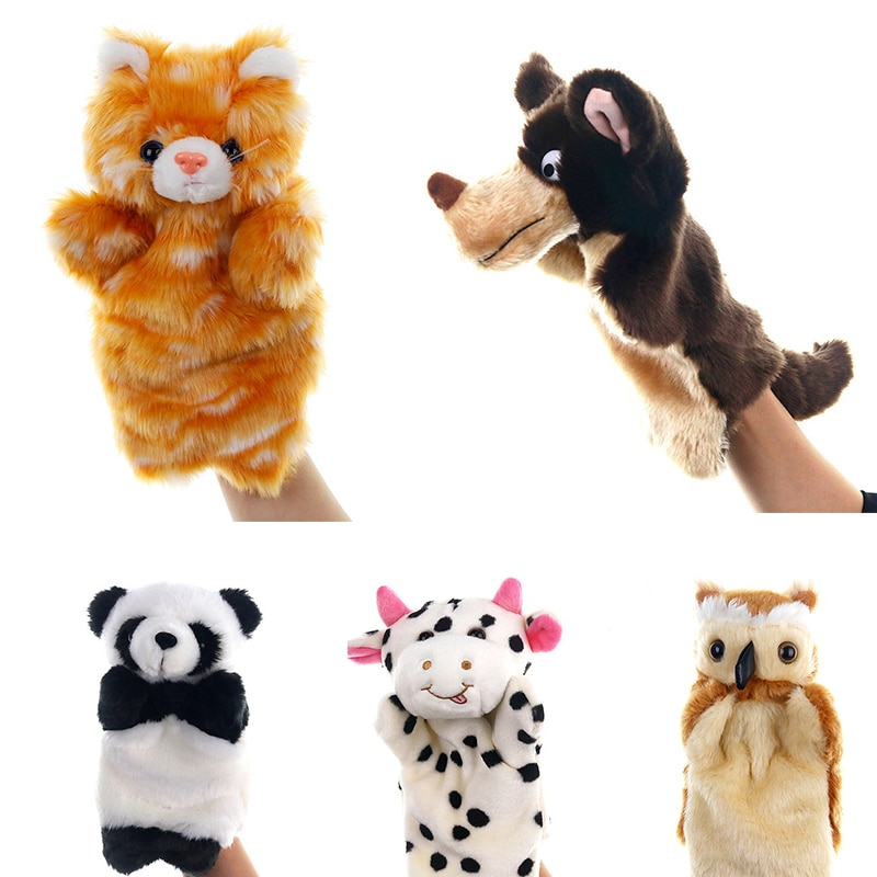 Animal Plush Hand Puppets Soft Toy Cow Shape Plush Doll Story Playing Dolls Kids Toy Hand Puppet Stu