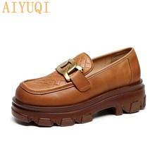 AIYUQI Women Shoes Platform 2021 New Natural Genuine Leather Ladies Single Shoes Retro Casual Ladies