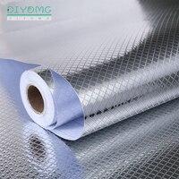 Кухонные водонепроницаемые самоклеящиеся обои из алюминиевой фольги, маслостойкие наклейки на стену, для печки, шкафа, контактной бумаги