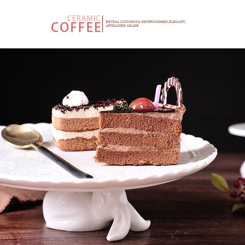 Rabbit Ceramic Tableware Afternoon Tea Snack Plate Cake Tableware Kitchen Utensils JS23