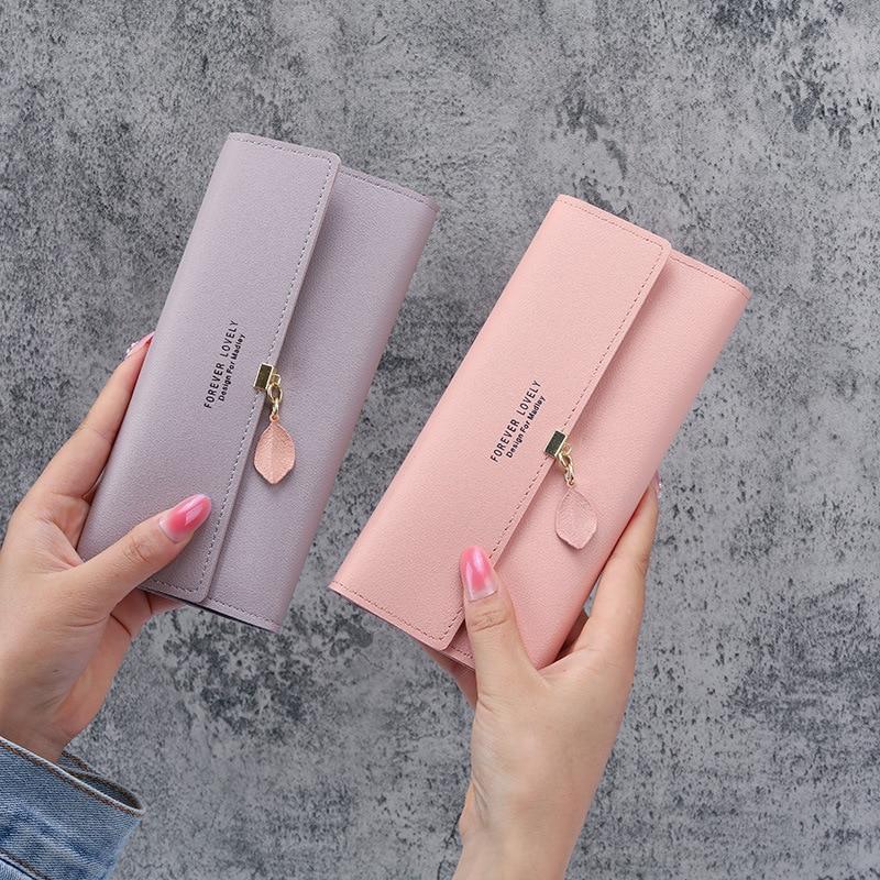 Wallets for Women Pink Color Letter Pu Leather Porte Monnaie Femme Long Card Holder Ladies Coin Purse Portemonnee Credit Card