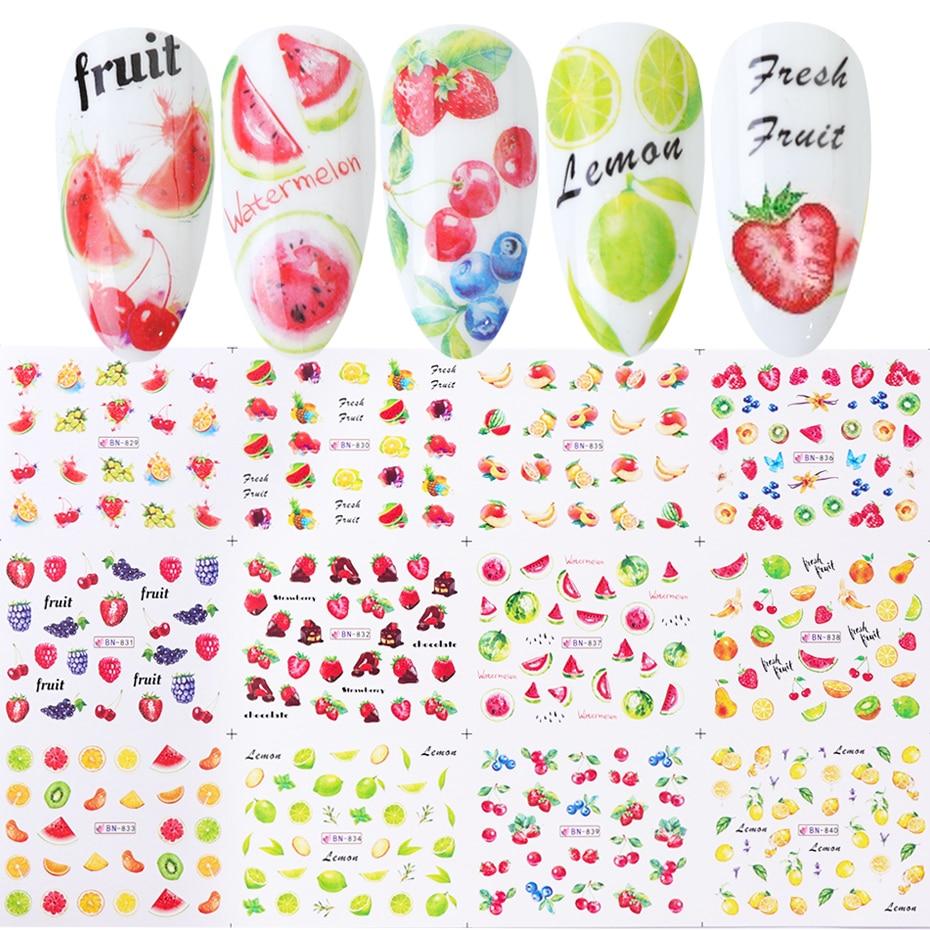 12pcs פירות נייל אמנות מדבקות מדבקות לימון תות אבטיח מים העברת מחוון נייל עיצוב שקפי Decoraton TRBN829-840-1
