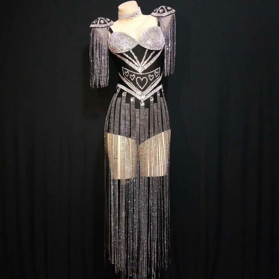 بدلة نسائية بشراشيب من حجر الراين الفضي اللامع ، ملابس نسائية فاخرة مثيرة ، بذلة حفلات أعياد الميلاد ، أزياء رقص للمغنيات