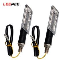 Leepee 1 par motocicleta indicadores de volta lâmpadas pisca luzes sinal para harley honda âmbar led