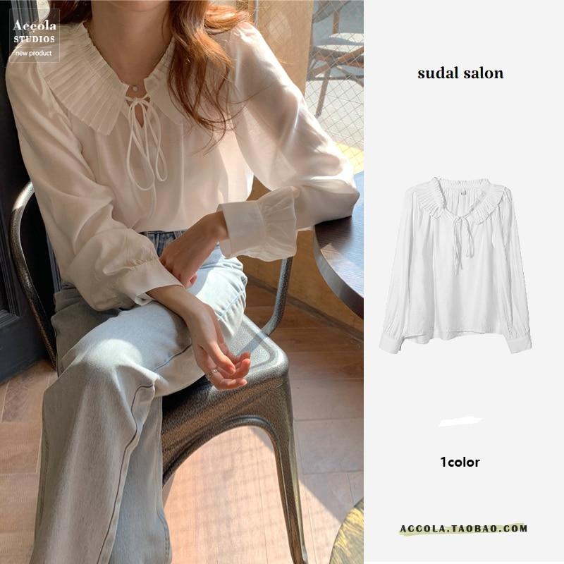 Spring and Autumn White Doll Collar Shirt Women's New Design Sense Niche Korean Style Loose Tencel L