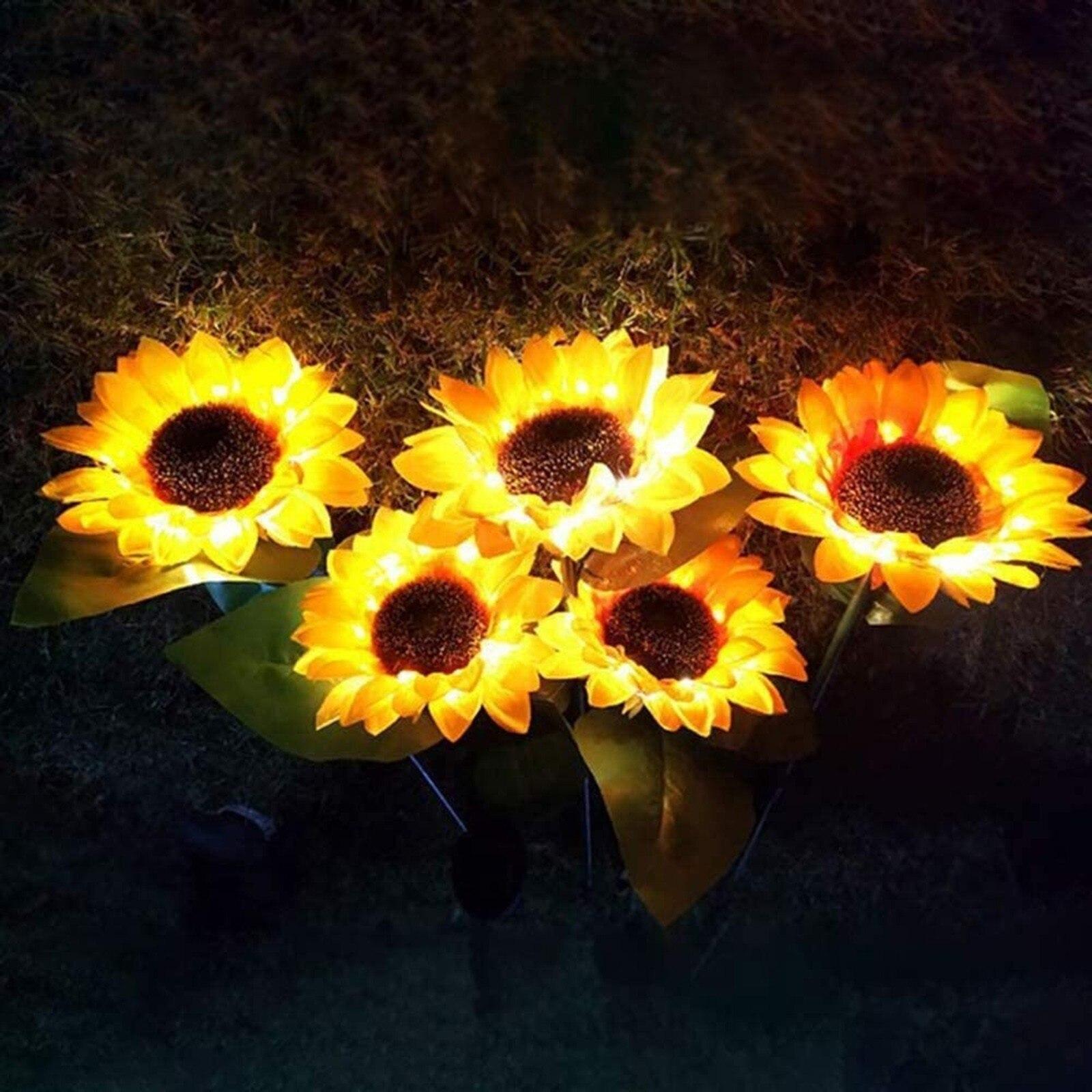 Luz Solar de girasol para jardín, lámpara de césped al aire libre,...