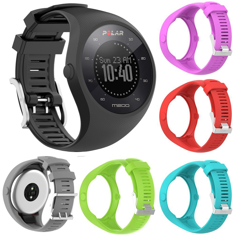 Soft Silicone Watchband Replacement for Polar M200 Smart Watch Band Wrist Strap Bracelet for Polar M200 Sport Accessories high quality comfortable silicone replacement wrist watch band for polar v800 smart bracelet with tool smart watch strap