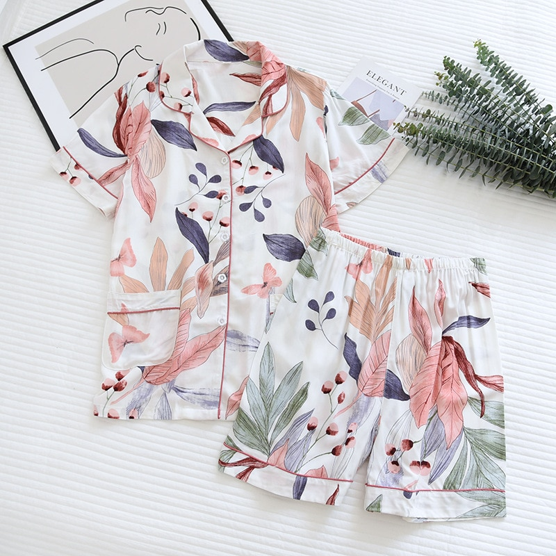 Summer New Womens Pajamas Thin Section Short-Sleeved Shorts Large Floral Print Home Service Ladies For Sets